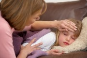 Mother Taking Temperature Of Sick Daughter