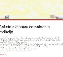 Anketa o statusu samohranih roditelja u Crnoj Gori